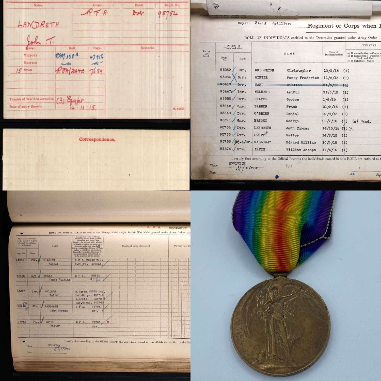WW1 Victory Medal To 95754 DVR J T Landreth RFA Served 5Y 3 Theatres