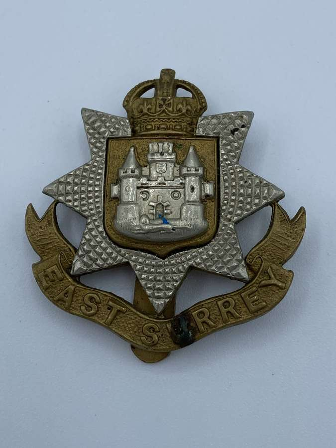 WW2 East Surrey Regiment Slider Cap Badge Kings Crown