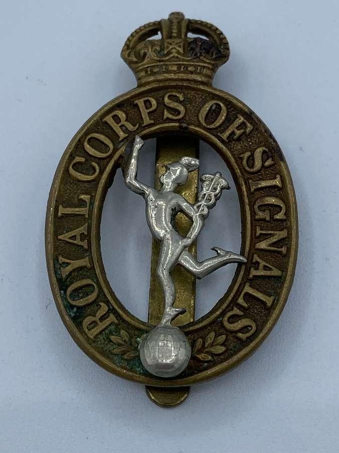 Ww2 Royal Corps Of Signals Slider Cap Badge