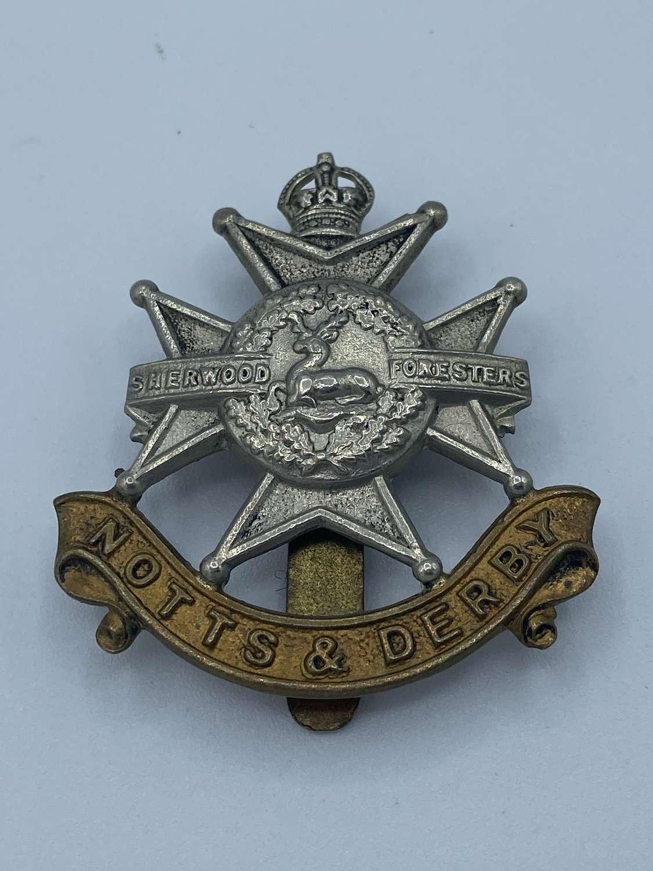 WW2 Notts & Derbyshire Sherwood Forest Slider Cap Badge
