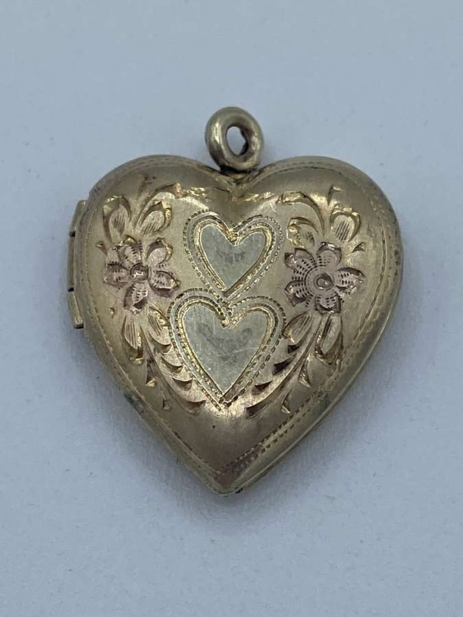 Antique Silver 10k Gold Played Photo Heart Pendant