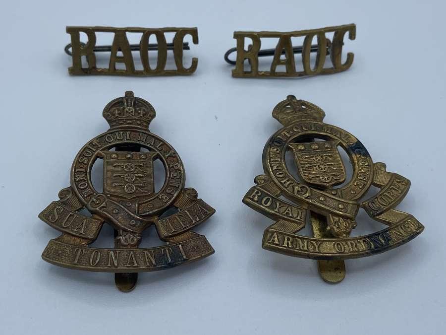 Mixed Variants OF WW2 RAOC Cap Badges & Shoulder Titles