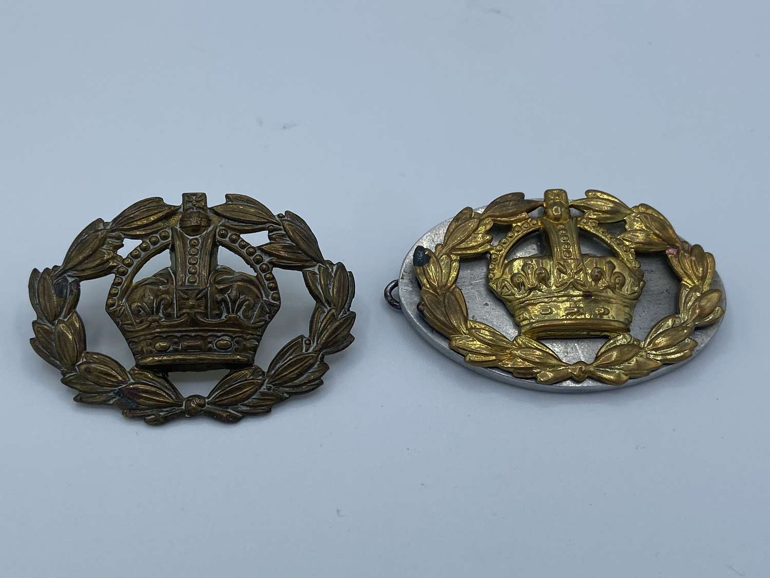 Pair of WW1 Warrant Officer Brass Sleeve Badge Two Lugs