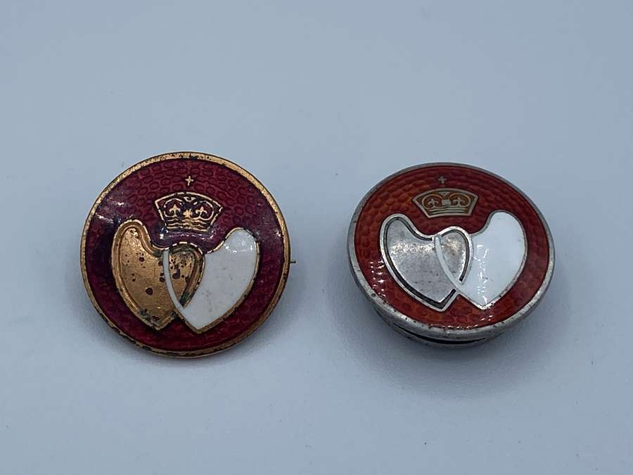 Vintage Silver Hallmarked Blood Donor Badge And A Standard Issue Badge