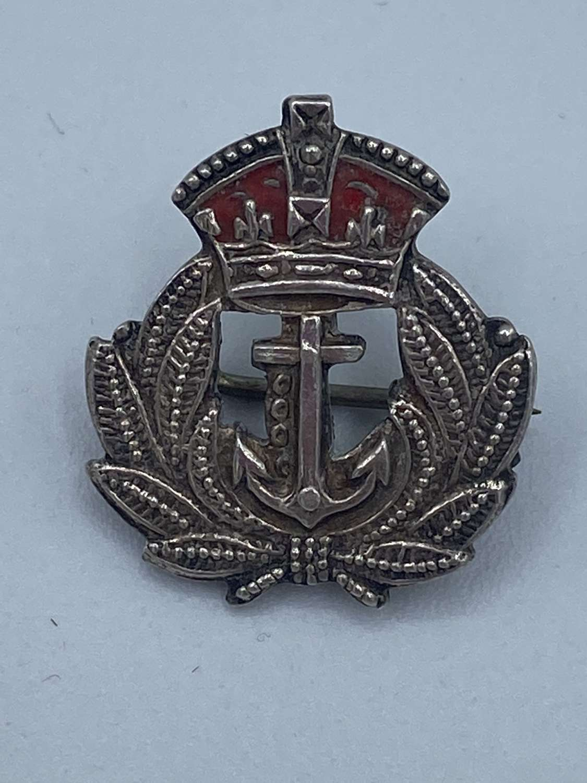 WW1 Sterling Silver And Enamel Royal Navy Sweetheart Brooch