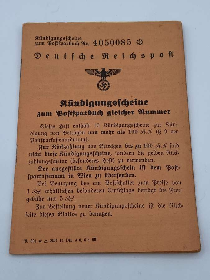 Ww2 german reichspost postal savings