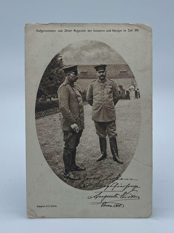 WW1 German Red Cross Kaiser & Hindenburg July 1915 Post Card