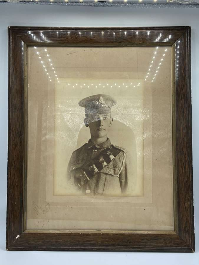 Large WW1 Royal Artillery Officer Portrait Photograph In Mahogany Fram