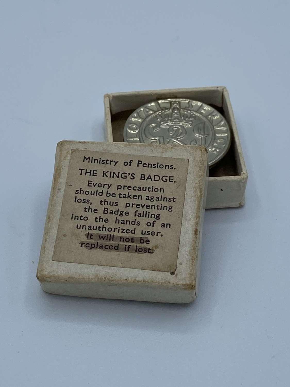 WW2 British Army Kings War Badge In Original Box