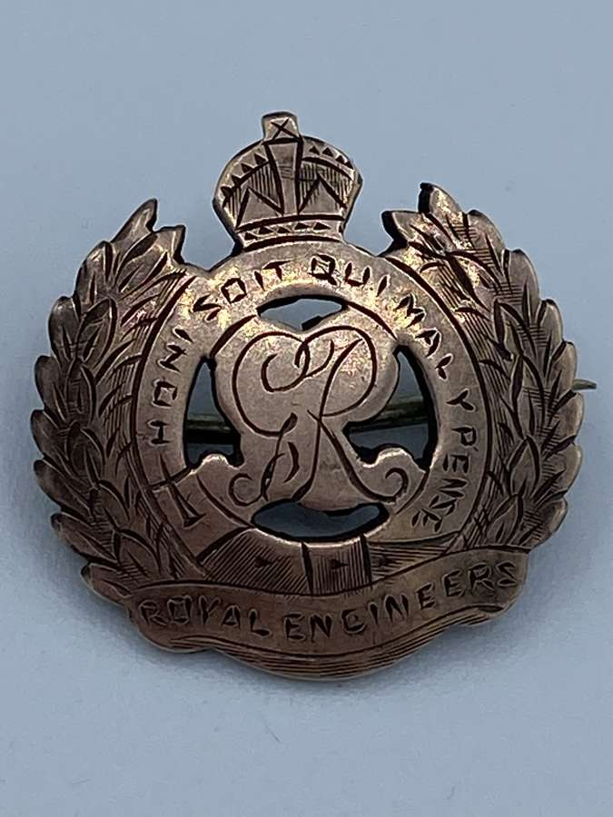 WW1 Gold Fronted Silver Marked Royal Engineers Sweetheart Brooch