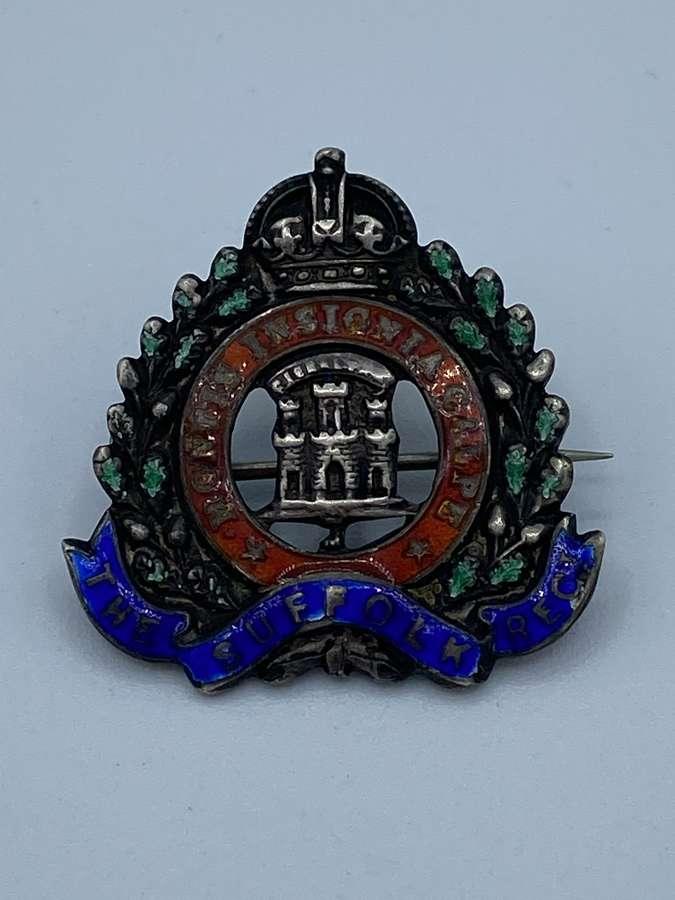 WW1 Suffolk Regiment Silver & Enamel Sweetheart Brooch