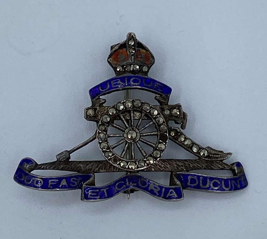 Victorian Military Royal Artillery Silver, Enamel & Onyx Paste Brooch