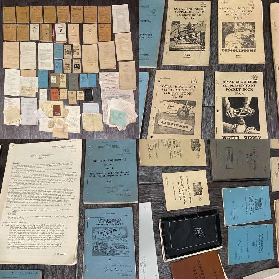 Lot Of WW2 & Post War Royal Engineers Manuals, Pocket Books Etc