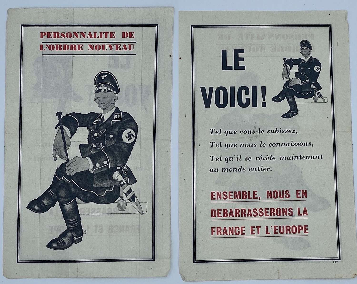 WW2 French Air Drop Leaflet Anti German SS Officer Propaganda