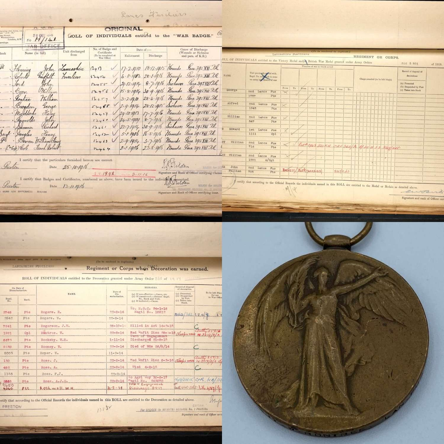 WW1 Victory Medal SGT W Rontree 2nd Lanc Fusiliers WIA Battle Of Loos