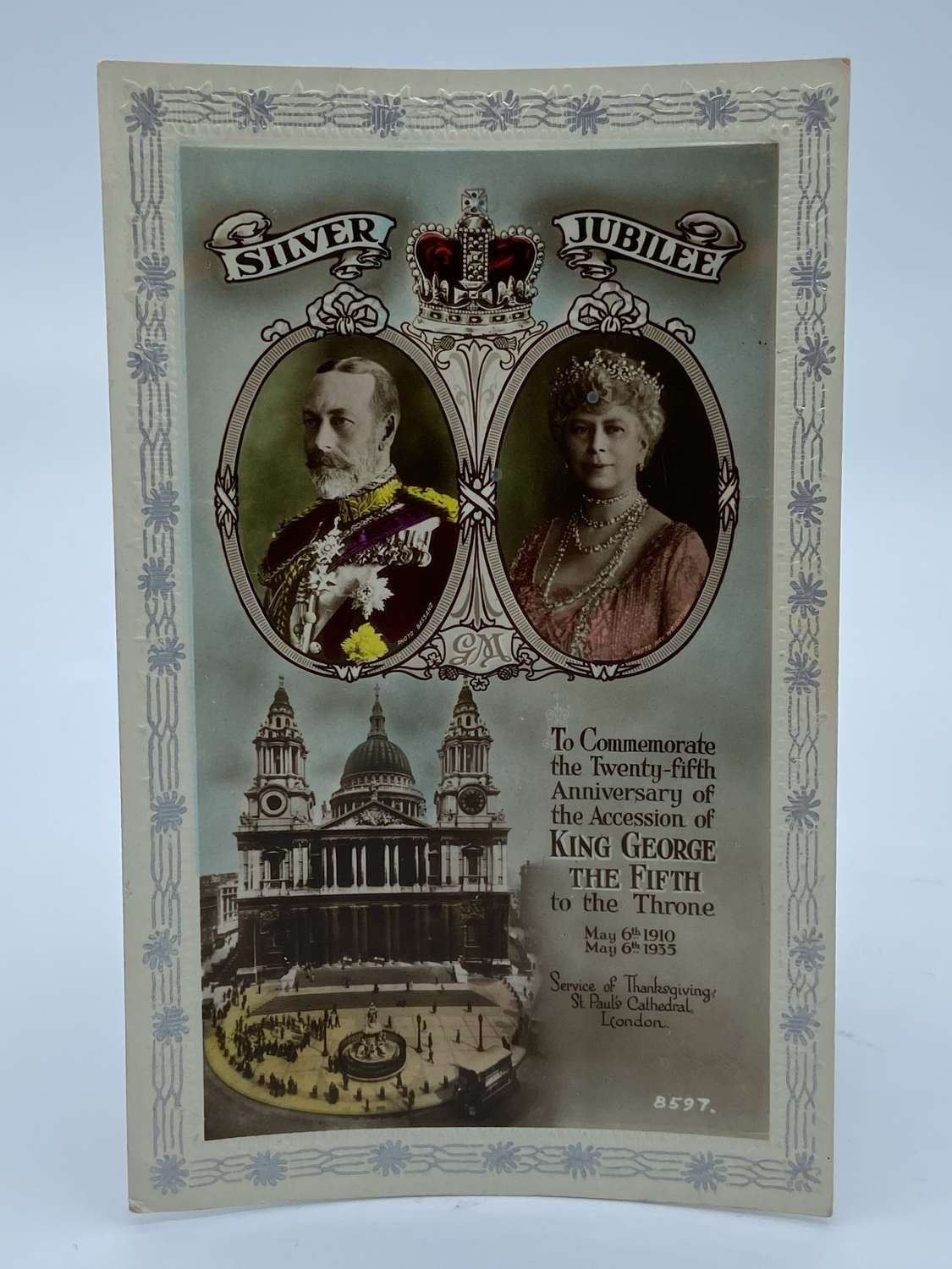 ANTIQUE KING GEORGE V & QUEEN MARY SILVER JUBILEE 1935 POSTCARD