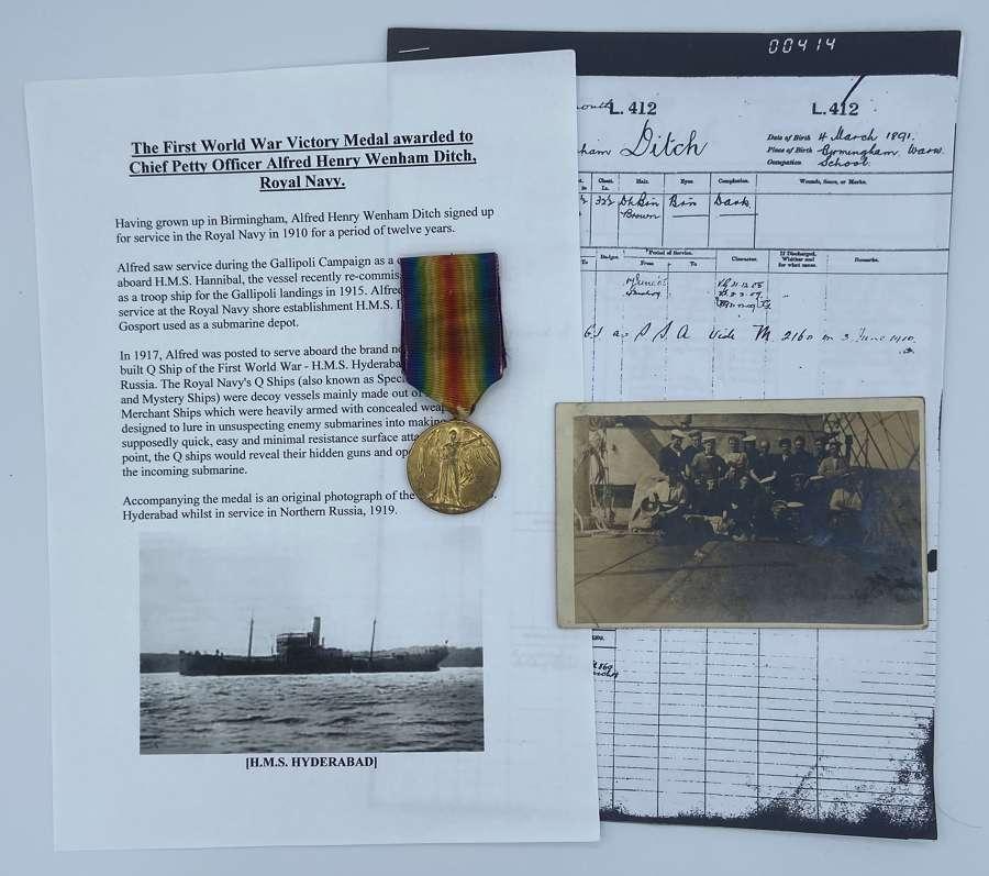 WW1 Victory Medal M2160 A.H.W Ditch V.C.P.O.R.N