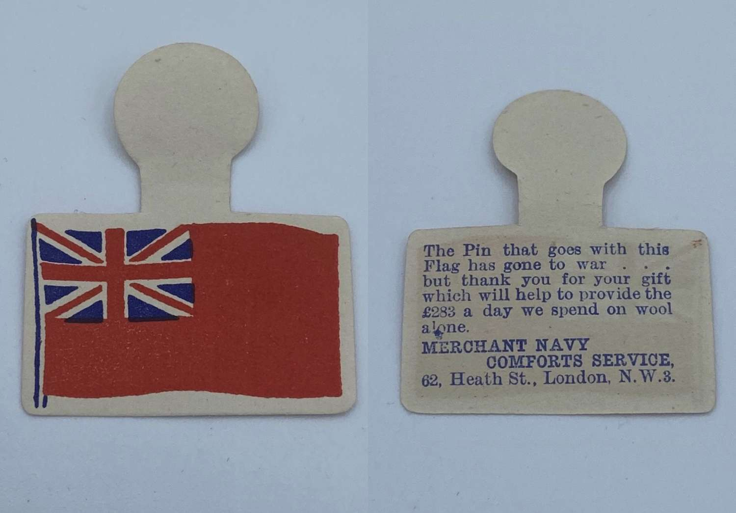 WW1 Merchant Navy Donation Paper Pin