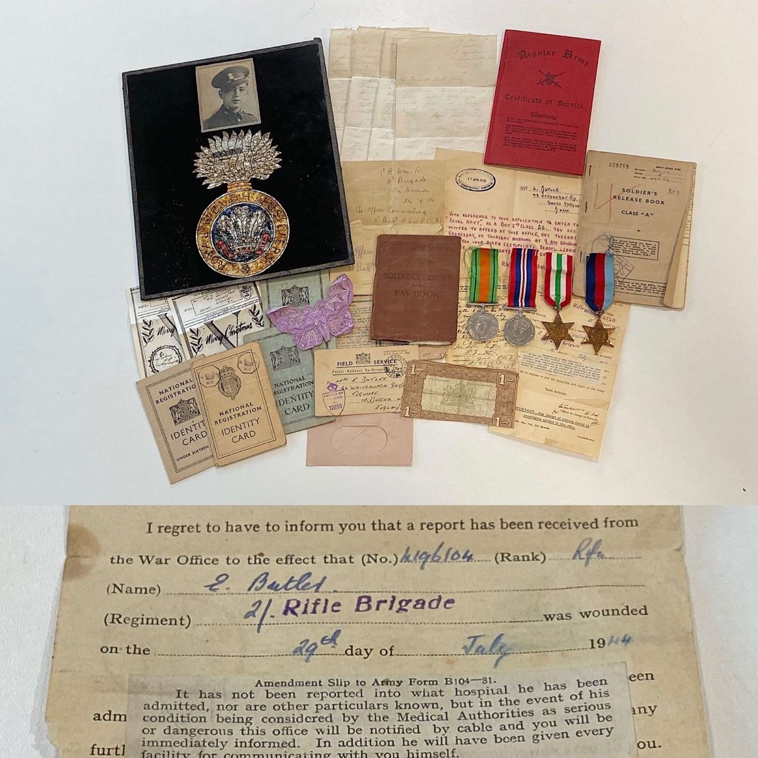 WW2 Medal Group Royal Welch Fusiliers PTE BUTLER WOUNDED ARNO LINE