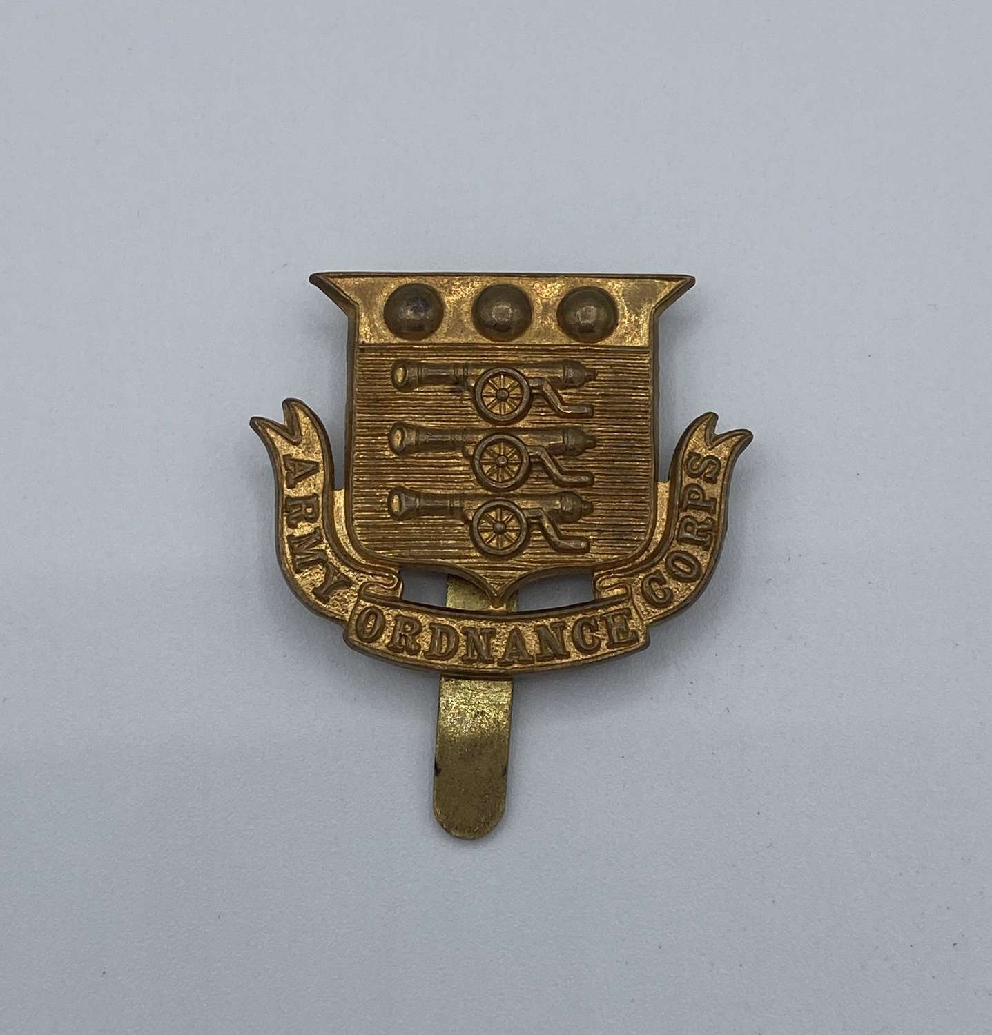 WW2 Army Ordnance Corps Slider Cap Badge