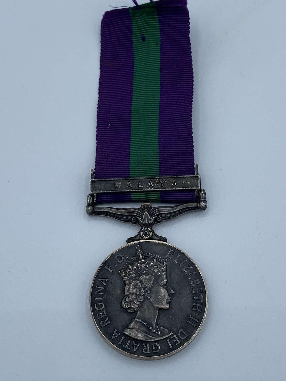 Post 1952 Queen Elizabeth II  GSM Malaya Claps Sgt Hutchison WRAC