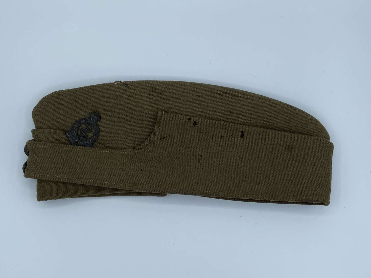 WW1 RAMC Side Cap With Bronze Officers RAMC Two Prong Badge