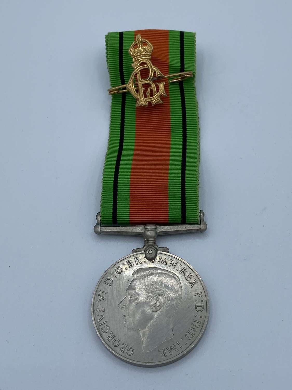 WW2 Defence Medal And Patriotic King George VI Loyalty Tie Pin Brooch