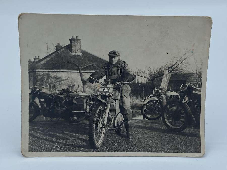 WW2 British Army Dispatch Rider Photograph On Dispatch Bike
