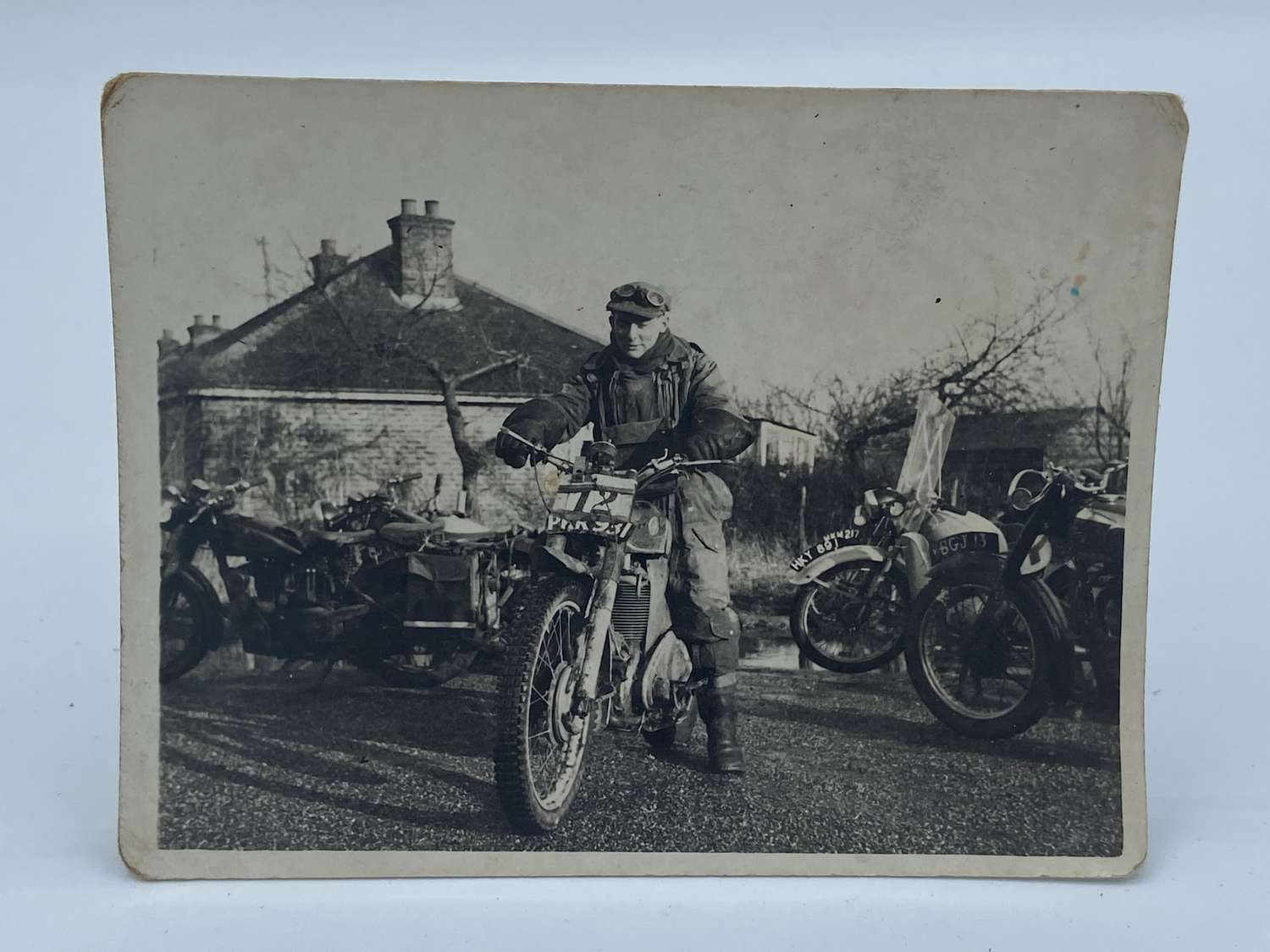 WW2 British Army Dispatch Rider Photograph On Dispatch Bike