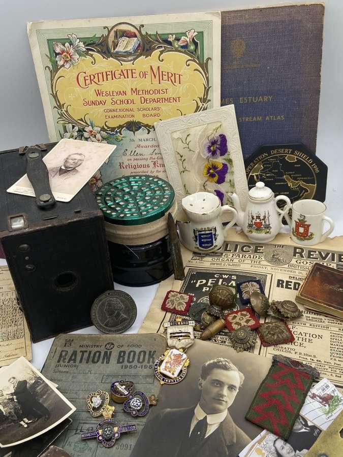 For sale is a Joblot Of WW1 WW2 Badges Paperwork Webbing Equipment etc