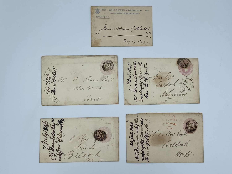 Queen Victoria 1840s Pink One Penny Embossed Envelopes Baldock X 5
