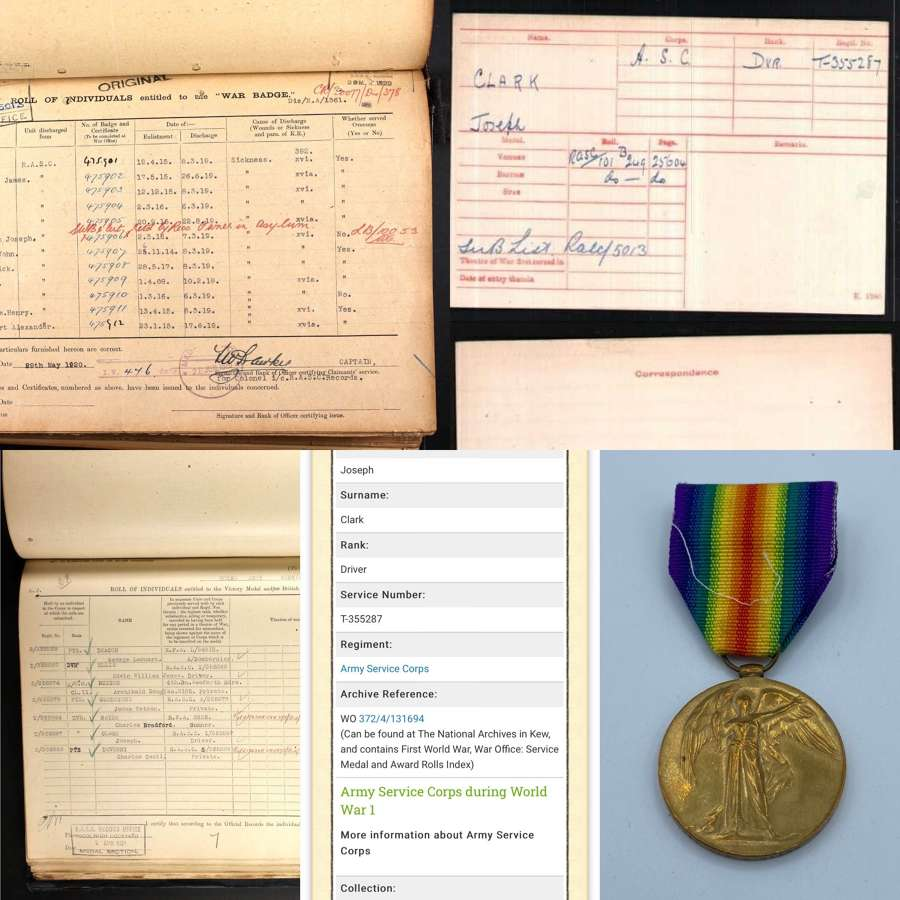 WW1 Victory Medal Dvr J Clark Army Service Corps Wounded
