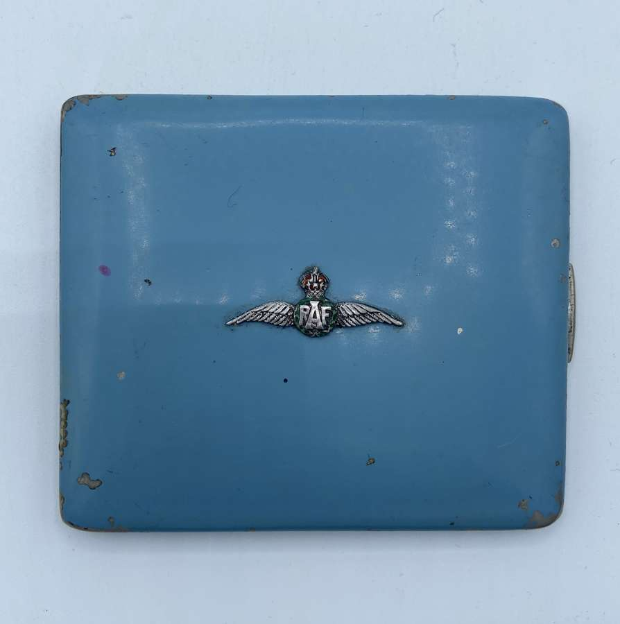 WW1/2 Womens RAF Pilot Wings Silver & Enamel Cigarette Case