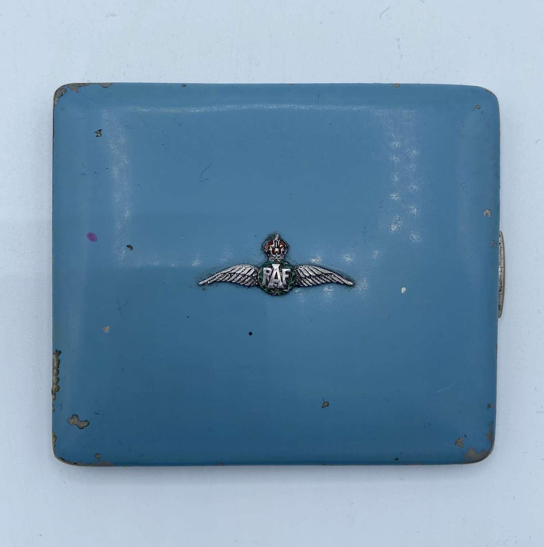 WW1/2 Womens RAF Pilot Wings Silver & Enamel Cigarette Case