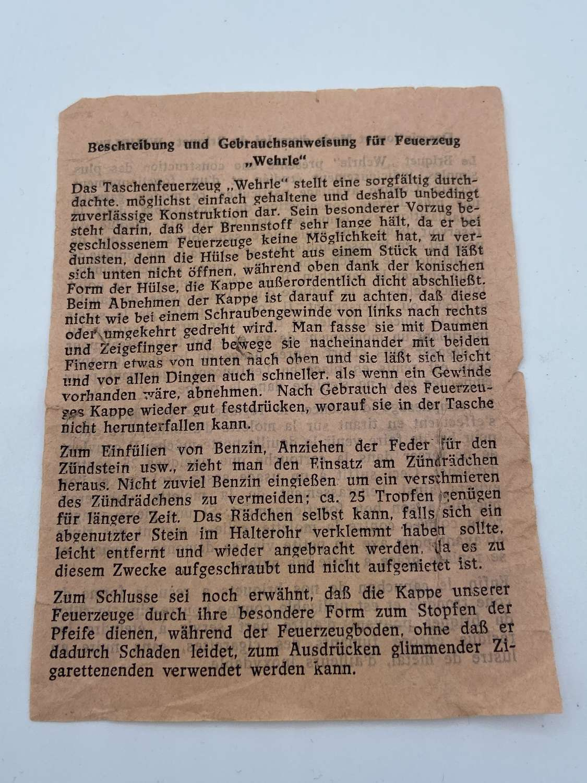 WW2 German Wehrmacht Wehrl Pocket Lighter Instructions