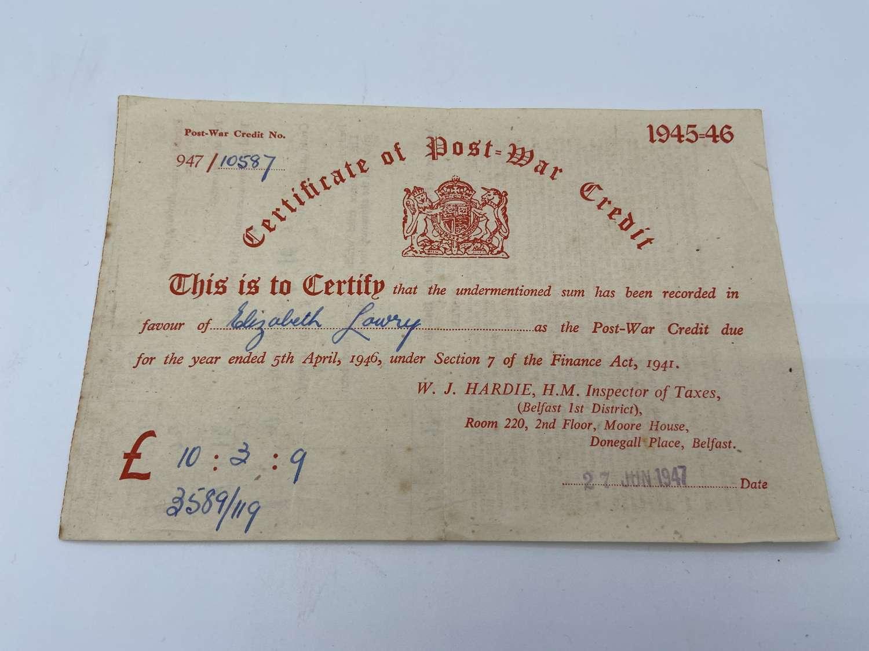 WW2 British Army 1945-46 Certificate Of Post War Credit