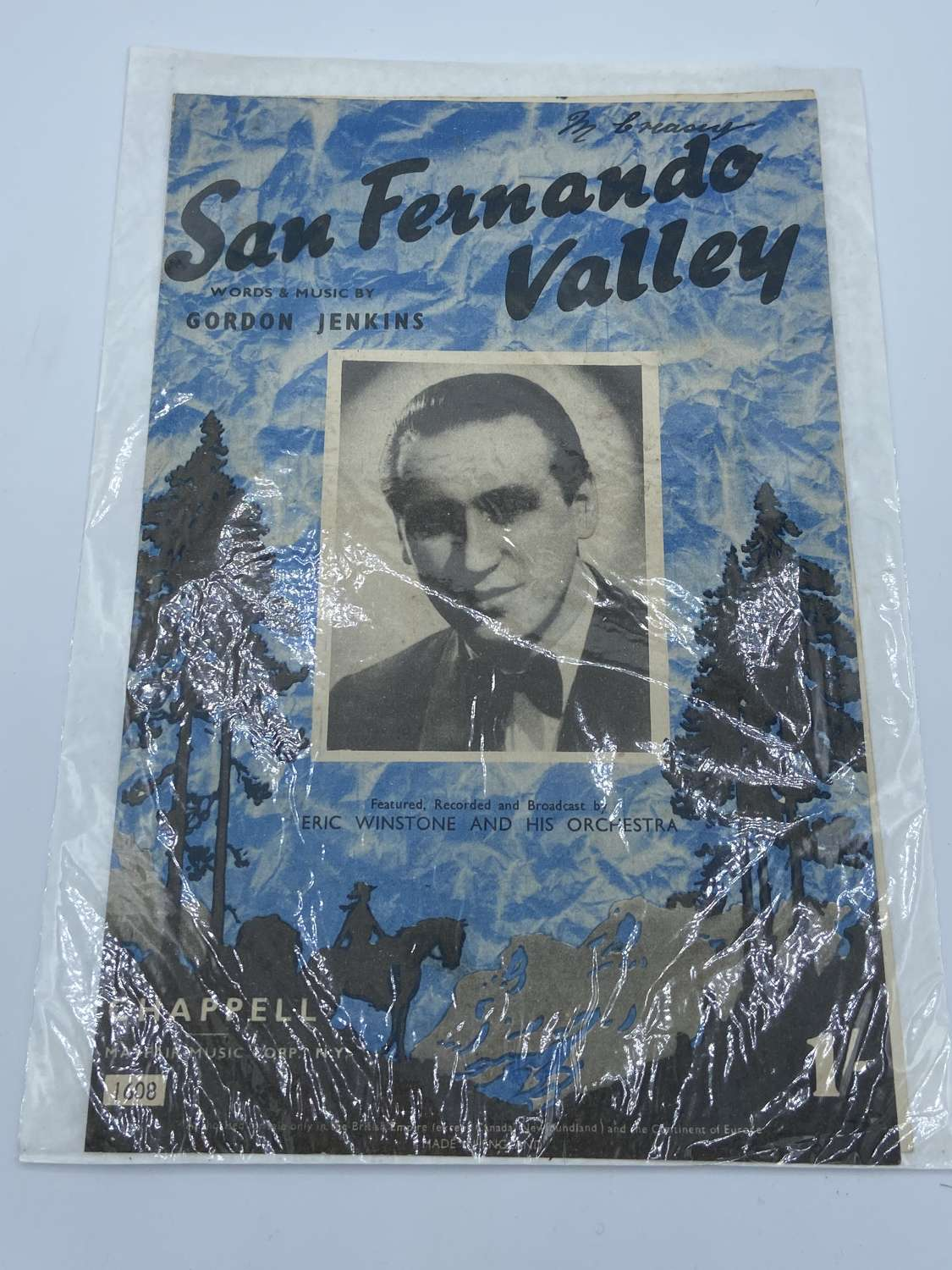 WW2 1943 San Fernando Valley Eric Winston Sheet Music