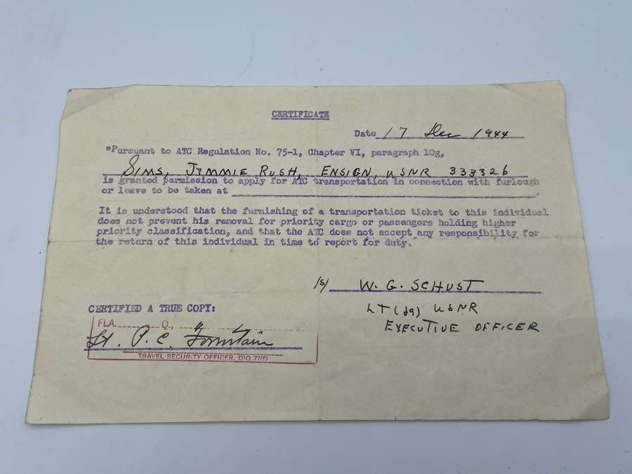 WW2 British Army ATC Transport Certificate 1944 Dated