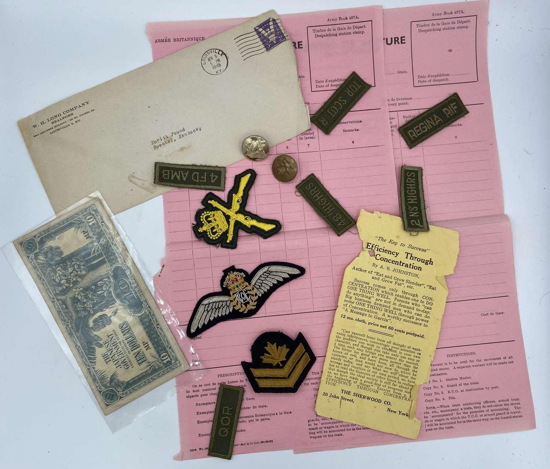 Joblot of WW2 & Post War Paperwork & Patches