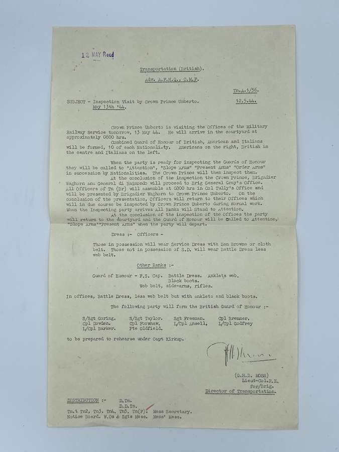 WW2 May 13th 1944 Inspection Visit By Crown Prince Umberto II Orders