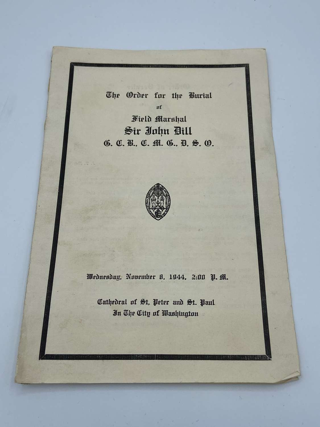 WW2 Field Marshal Sir John Greer Dill Funeral Order Of Service