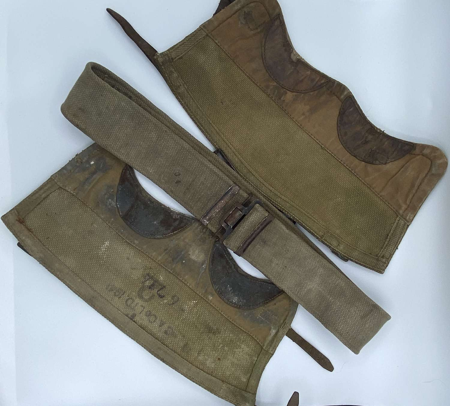 WW2 British Army Belt And Gaiters C & Co Named & 1941 Dated