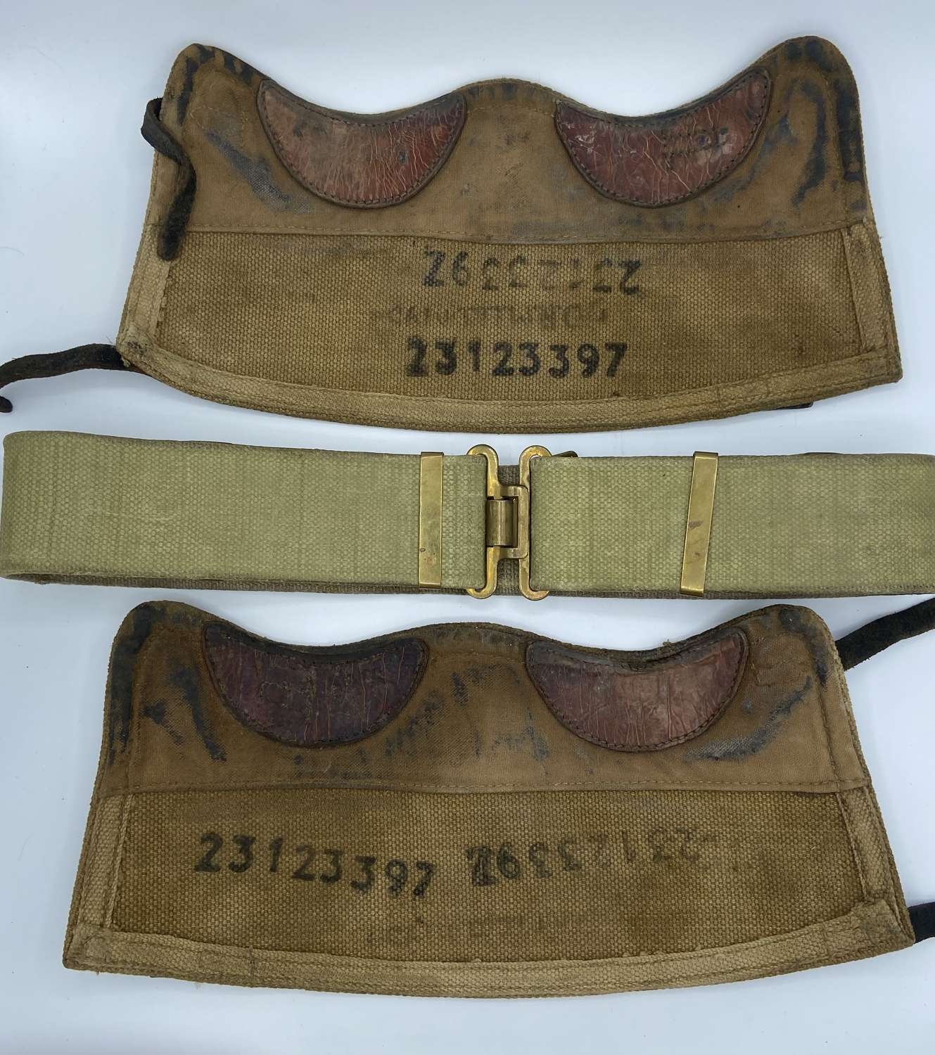Korean War British Army Belt And Gaiters Matching Serial Number
