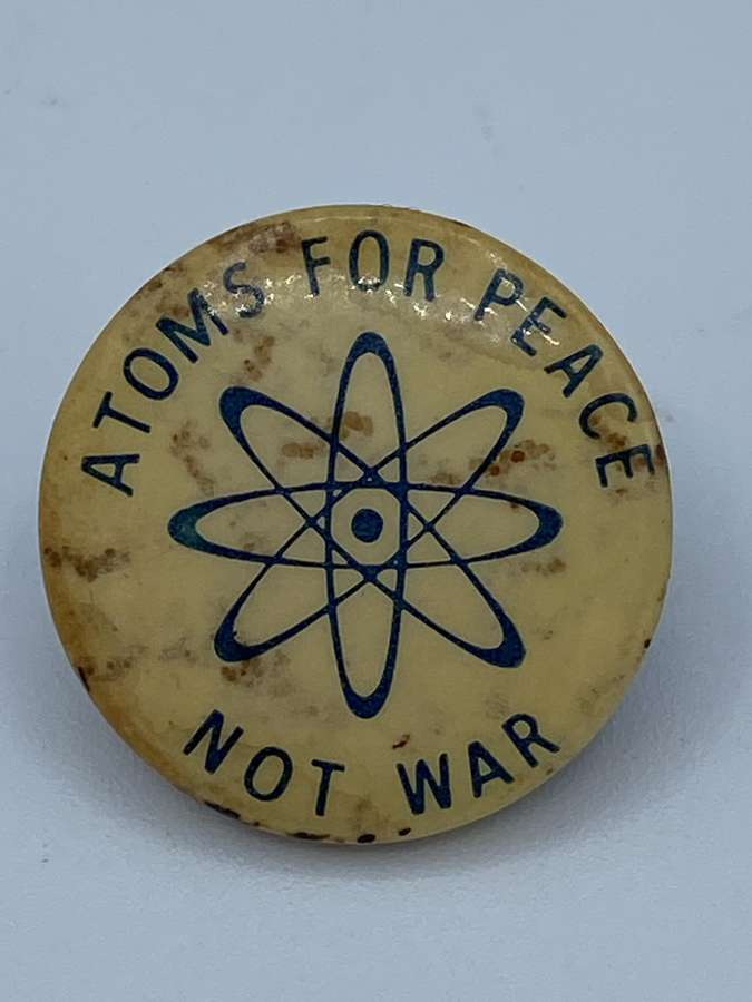 1960s Vintage Political Campaign Badge Atoms For Peace Not War