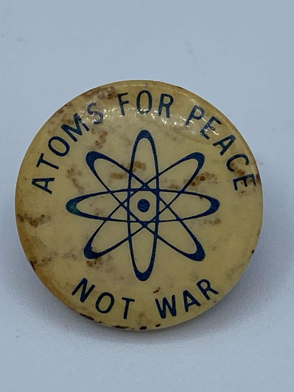 1960s Vintage Political Campaign Badge Atoms For Peace Not War