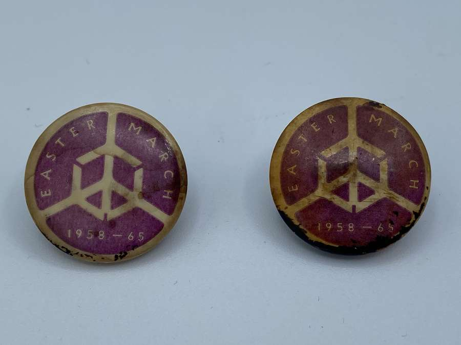 Vintage Pair Of 1958-65 CND Easter March Political Campaign Badges CND