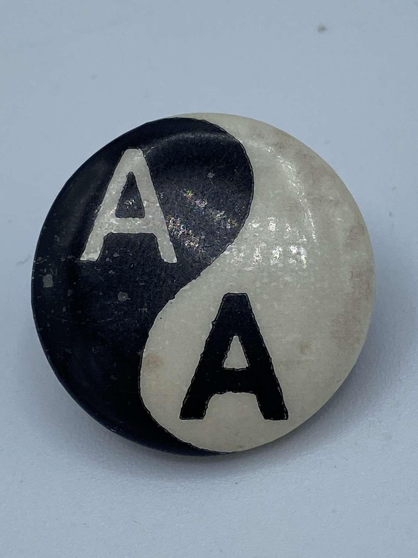 Vintage 1980s Anti Apartheid AA Movement Ying And Yang Badge