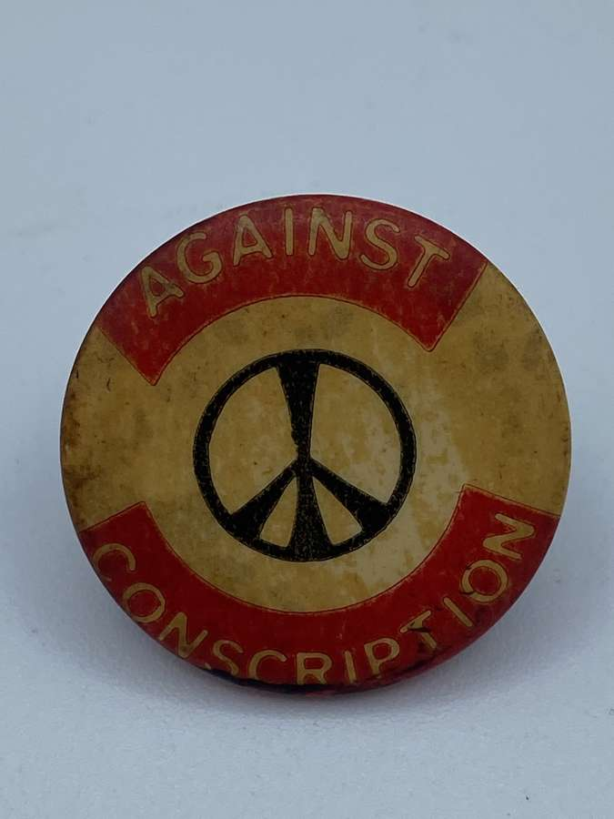 Vintage 1960s CND Against Conscription Political Campaign Badge