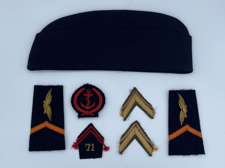 Vintage French Airforce Side Cap, Epaulettes And Patches Ww2 To 1980s