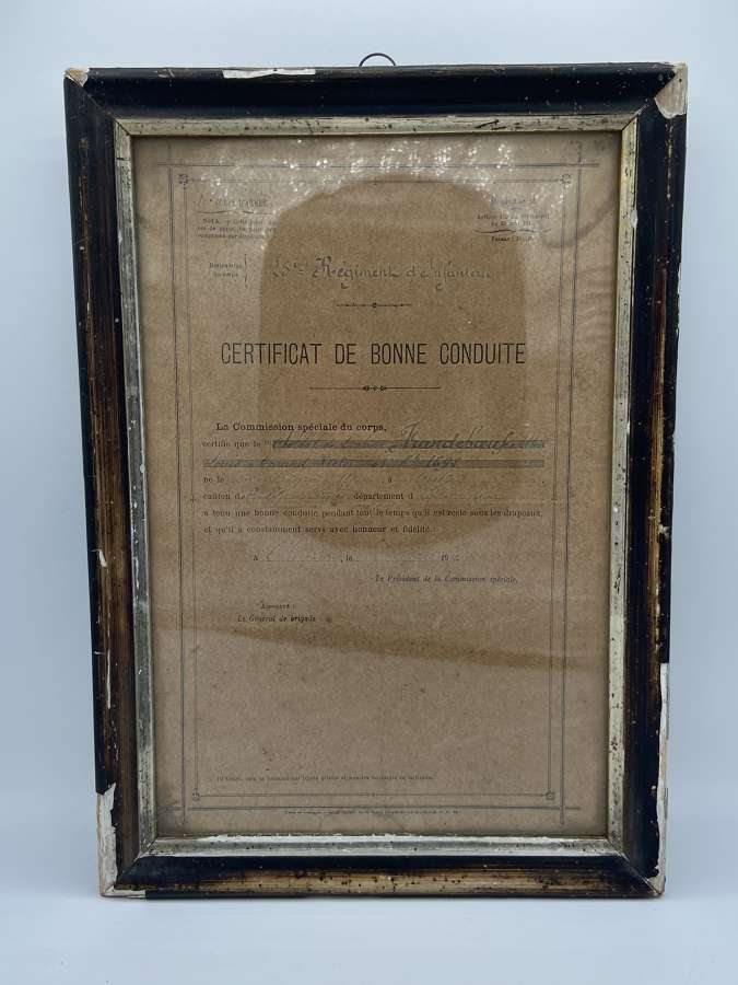 WW1 25th Infantry Regiment French Certificate Of Good Conduct